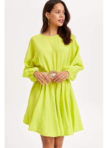 DeFacto Beli Büzgülü Elbise Sarı